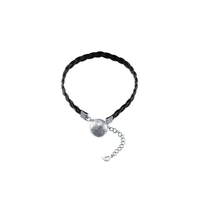 Image for Football silver and black leather bracelet