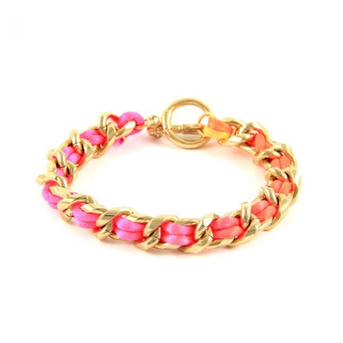 Image for Ettika - Pink Neon Satin and Yellow Gold Bracelet