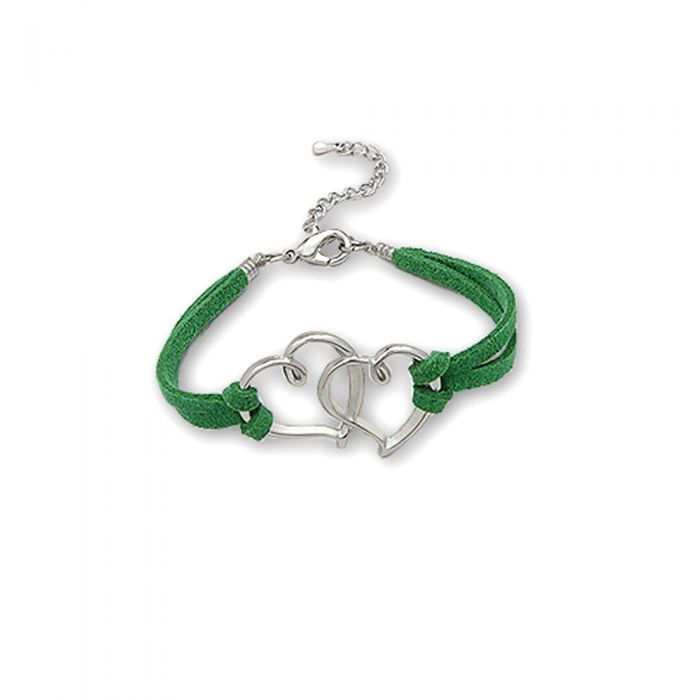 Image for Green Double Heart Suedin Bracelet and Rhodium plated