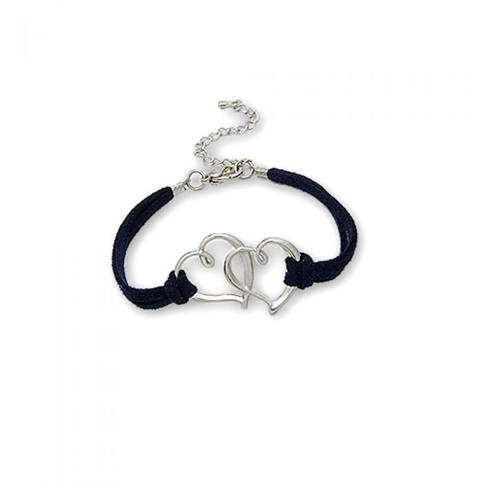 Image for Navy blue Double Heart Suedin Bracelet and Rhodium plated