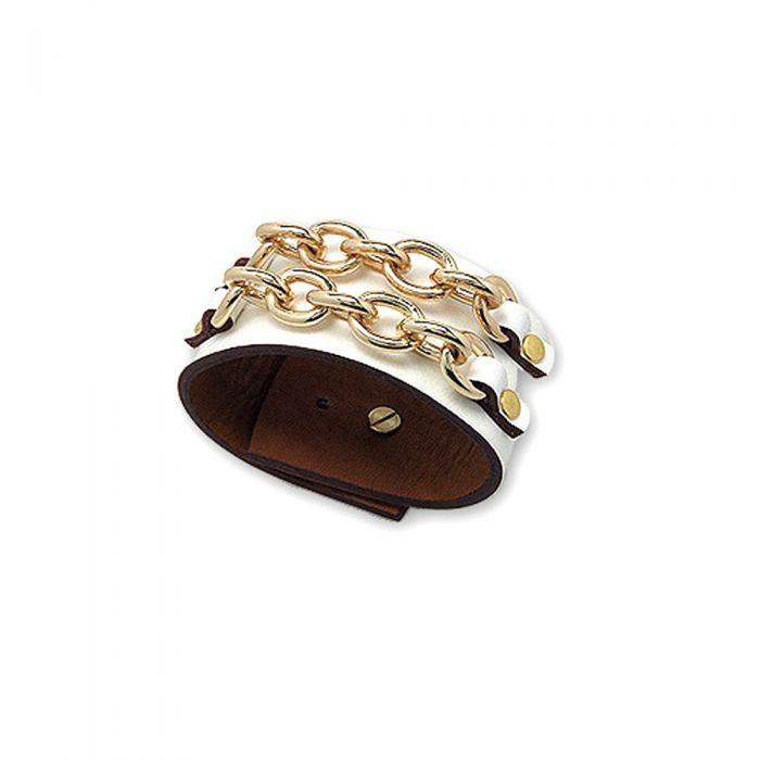 Image for White Leather Strap Bracelet and Links Gold Steel