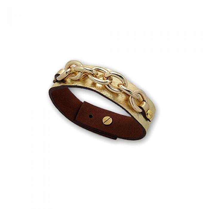 Image for Gold Link Leather Strap Bracelet and Gold Steel