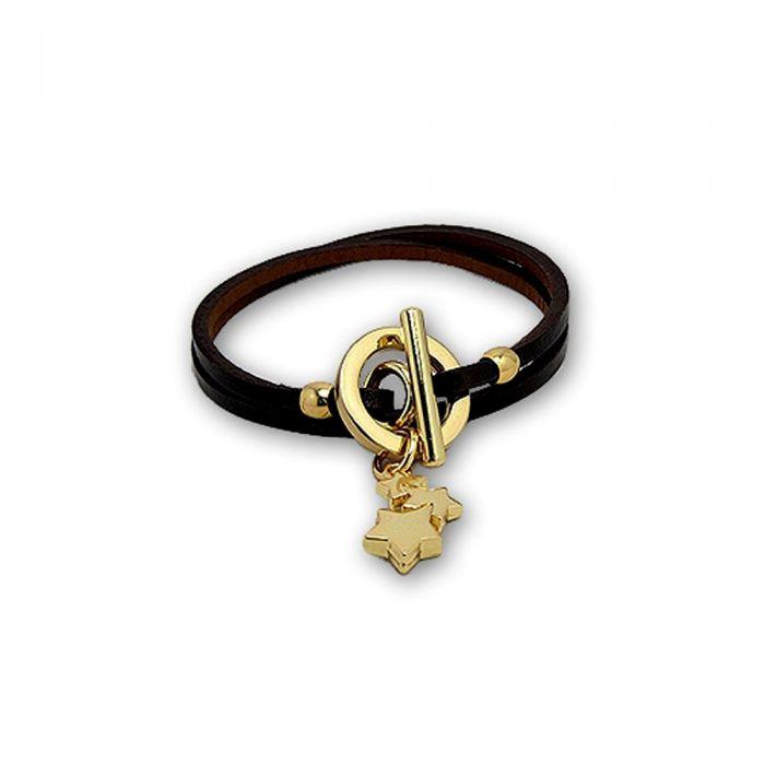 Image for Black Leather Stars Bracelet and Silver Steel