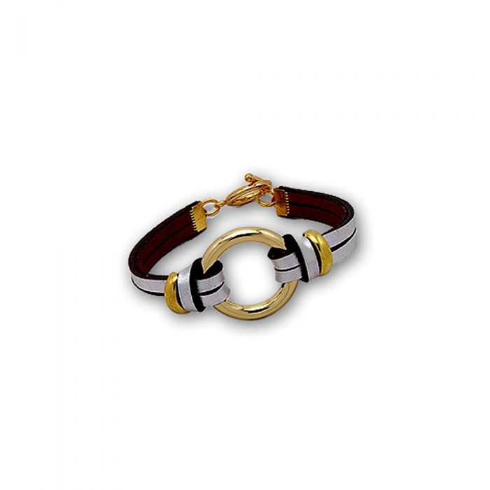 Image for Silver Leather Circle Bracelet and Gold Steel
