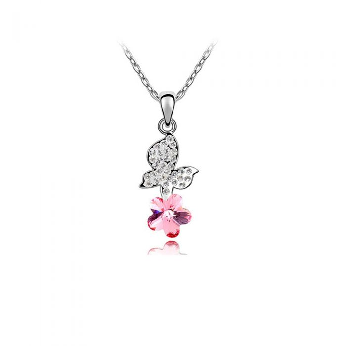 Image for Pink Swarovski crystals butterfly pendant