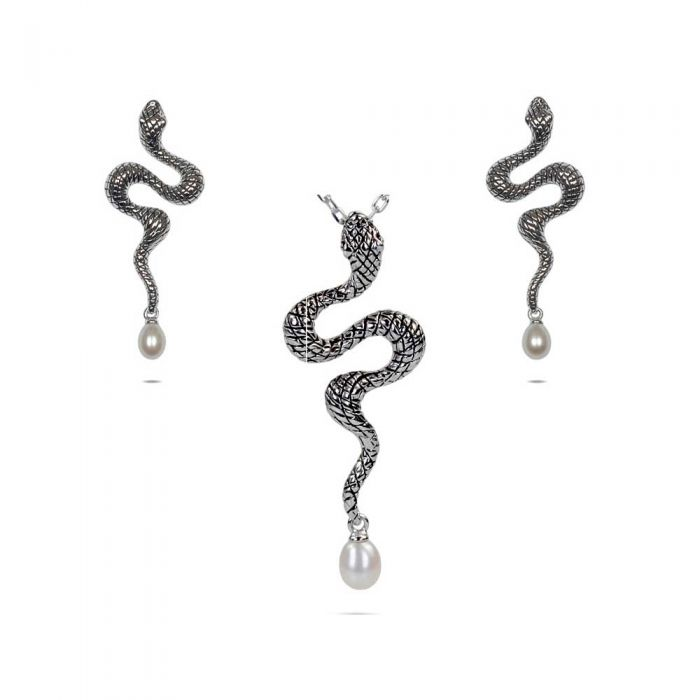 Image for White Freshwater Pearl 925 Silver Snake Pendant and Earrings Set