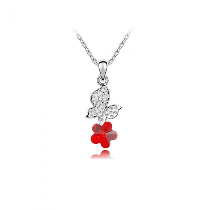 Image for Red Swarovski Element Crystal Butterfly Pendant