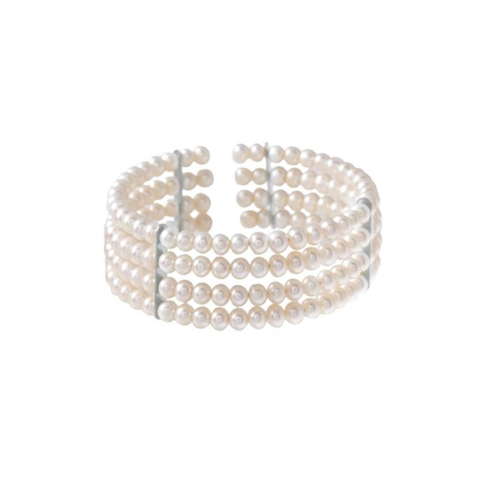 Image for White Freshwater Pearl 4 Rows Bracelet and silver