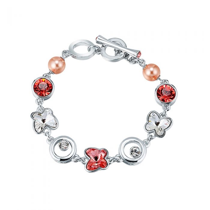 Image for Pink and white Swarovski crystals and rhodium-plated butterfly bracelet