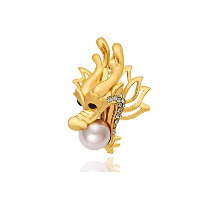 Image for Swarovski - Pearl, Swarovski Crystal Elements Dragon Brooch and Rhodium Plated