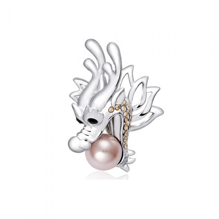 Image for Pearl, Swarovski Crystal Elements Silver Dragon Brooch and Rhodium Plated