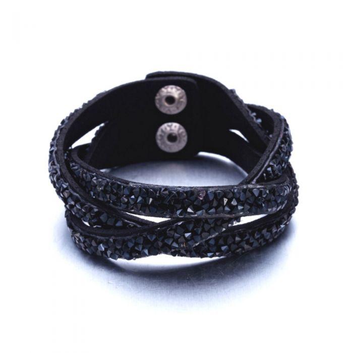 Image for Swarovski - Black Swarovski Crystal Elements and Leather Interlaced Bracelet