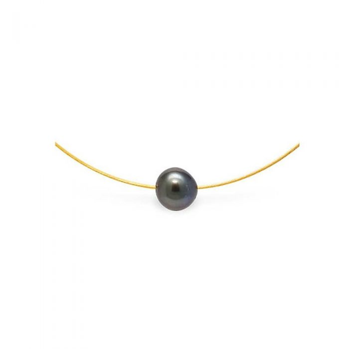 Image for Yellow gold tahitian pearl cable necklace