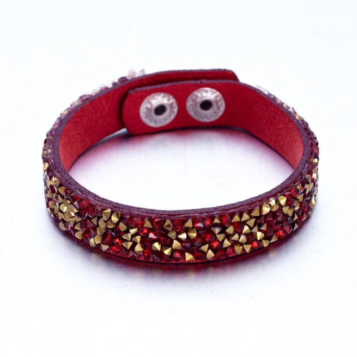 Image for Gold and red Swarovski crystals and leather bracelet