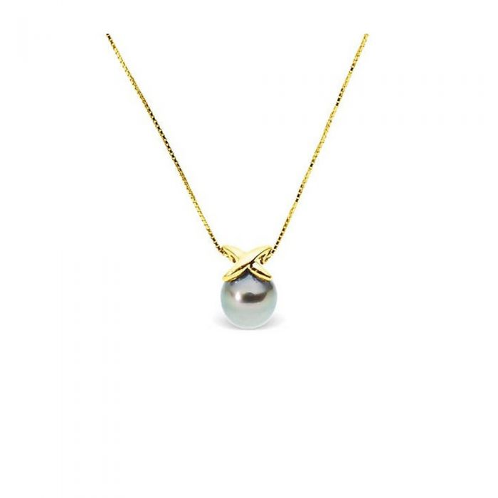 Image for Yellow gold black tahitian pearl necklace