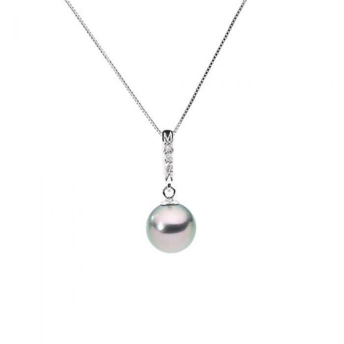 Image for White gold black tahitian pearl and diamond pendant