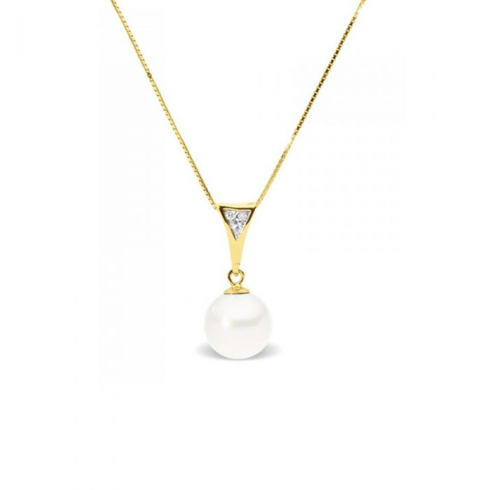 Image for Yellow gold and white freshwater pearl and diamond pendant