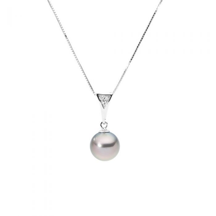 Image for Yellow gold and black tahitian pearl and diamond pendant