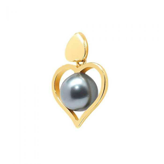 Image for Black Tahitian Pearl Heart Pendant and Yellow Gold 750/1000
