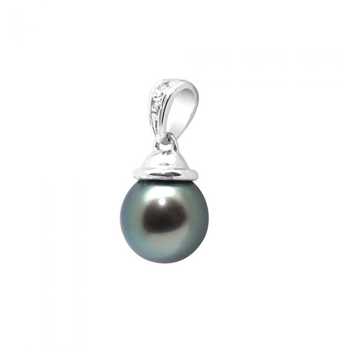 Image for White gold and black tahitian pearl and diamond pendant