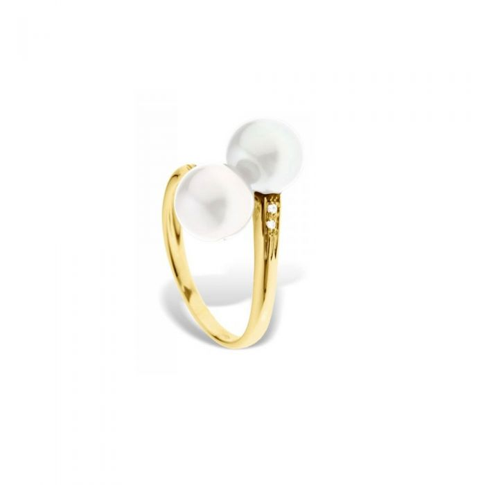 Image for White freshwater pearl and diamond ring and yellow gold 375/1000