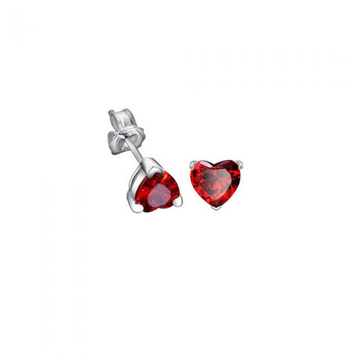Image for Red Swarovski crystals heart earrings
