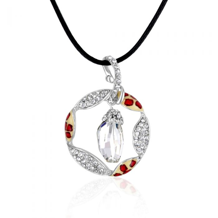 Image for Swarovski crystals and rhodium-plated pendant