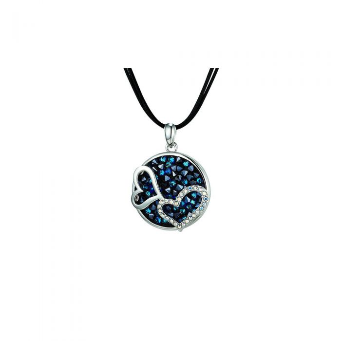 Image for Blue Swarovski crystals and rhodium-plated hearts necklace