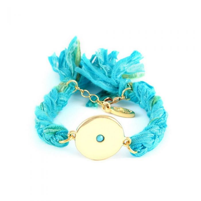 Image for Ettika - Turquoise Ribbons and Yellow Gold Disc Bracelet