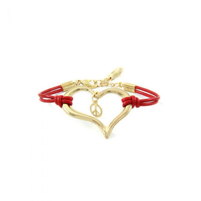 Image for Ettika - Red Leather, Heart and Peace and Love and Yellow Gold Bracelet