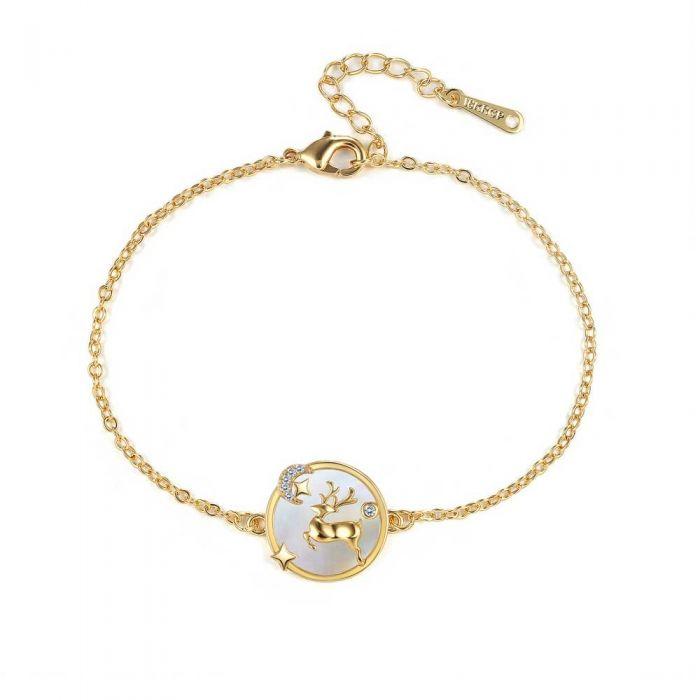 Image for White Swarovski crystals and gold-plated reindeer bracelet