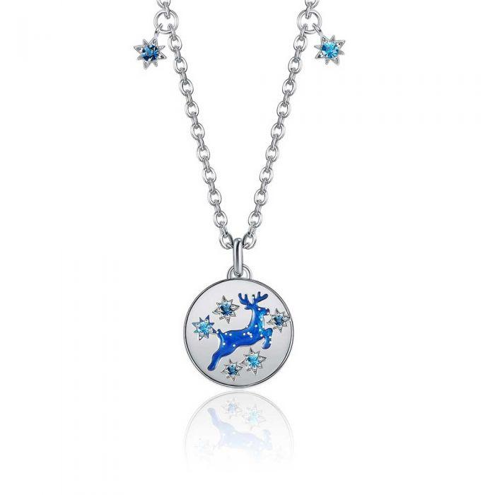 Image for Blue Swarovski crystals reindeer necklace