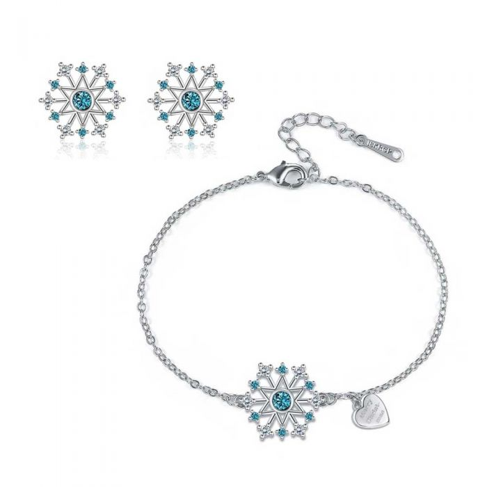 Image for White and blue Swarovski crystals snowflake set