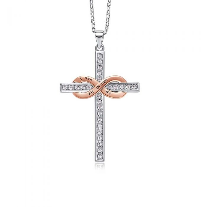 Image for White Swarovski crystals cross and infinity pendant necklace