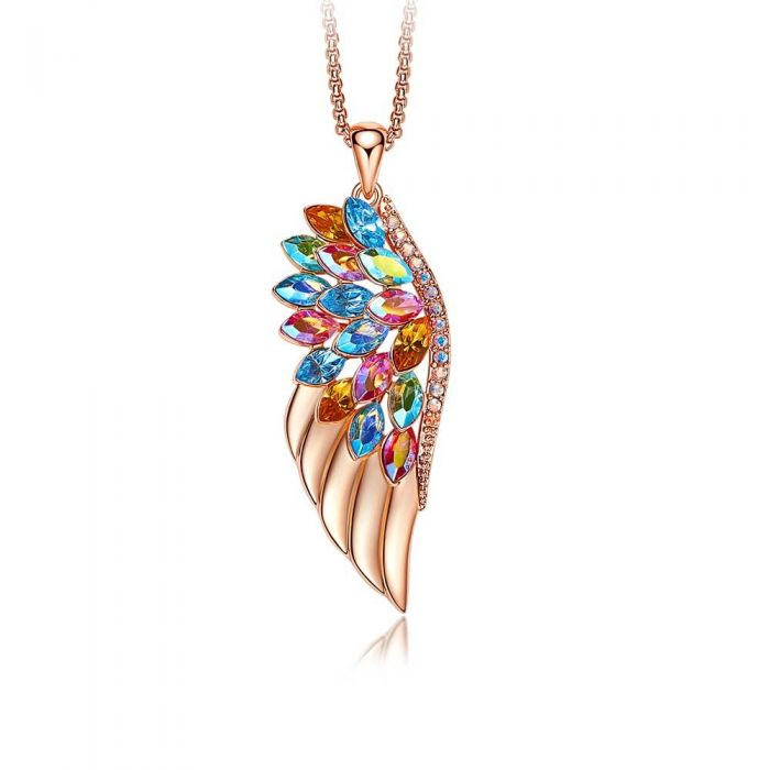 Image for Multi-coloured Swarovski crystals wing pendant