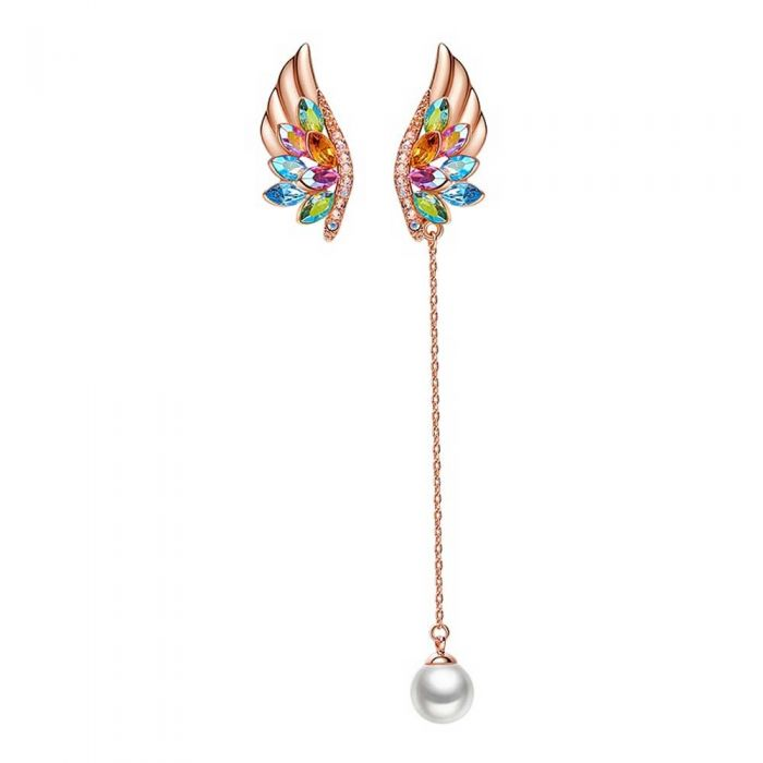 Image for Multi-coloured Swarovski crystals drop wing earrings