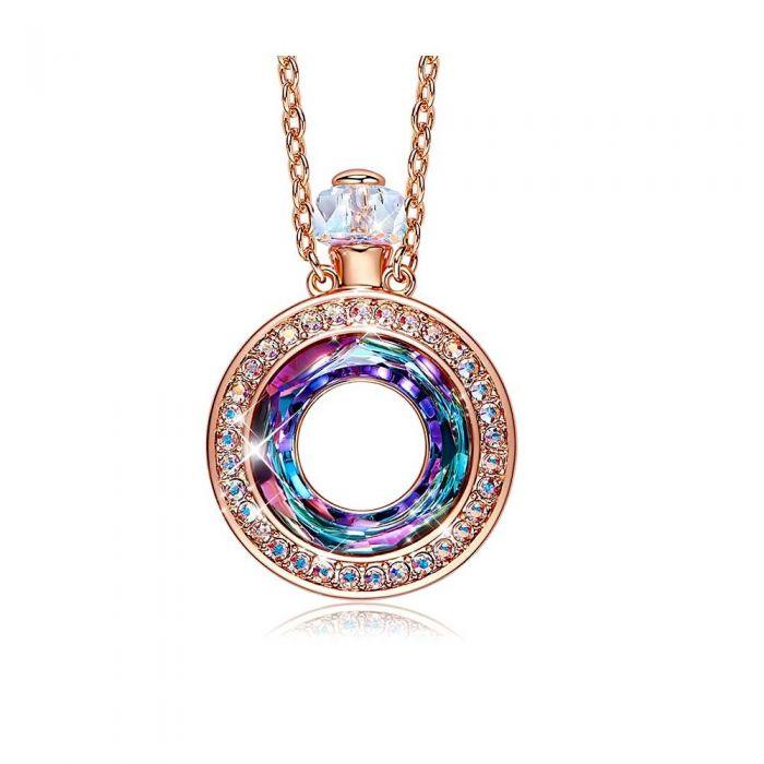 Image for Multi-coloured Swarovski crystals perfume bottle pendant necklace