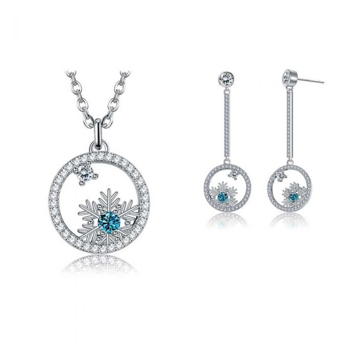 Image for White and Blue Swarovski Crystal Snowflake Womans Set