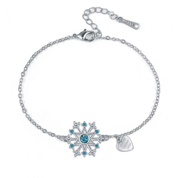 Image for Womens Snowflake Bracelet in White and Blue Swarovski Crystal