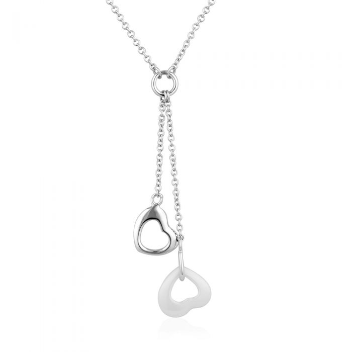 Image for White Ceramic Heart Necklace and 925 Silver