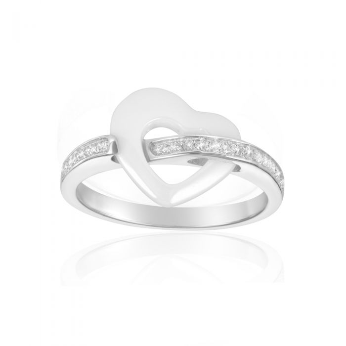 Image for White Cubic Zirconia Crystals Ceramic White Heart Ring and Silver Sterling