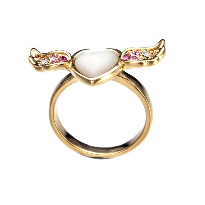 Image for Swarovski crystals and mother-of-pearl heart and wing ring