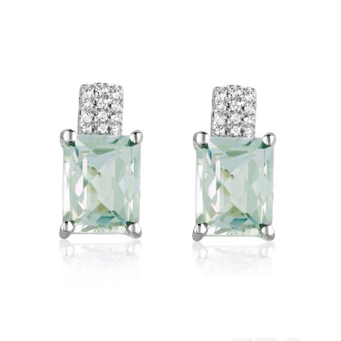 Image for White Swarovski zirconia and light green amethyst earrings