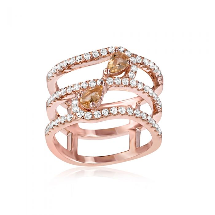 Image for Swarovski - 66 White and Champagne Swarovski Crystal Zirconia and 925 Silver and Rose Gold Plated