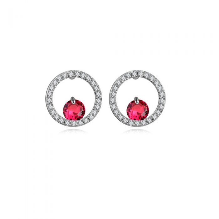 Image for Rhodium Plated Earrings and Red Cubic Zirconia