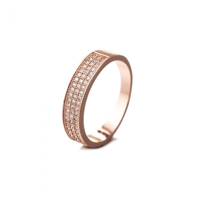 Image for Pink Gold Plated Ring and White Cubic Zirconia