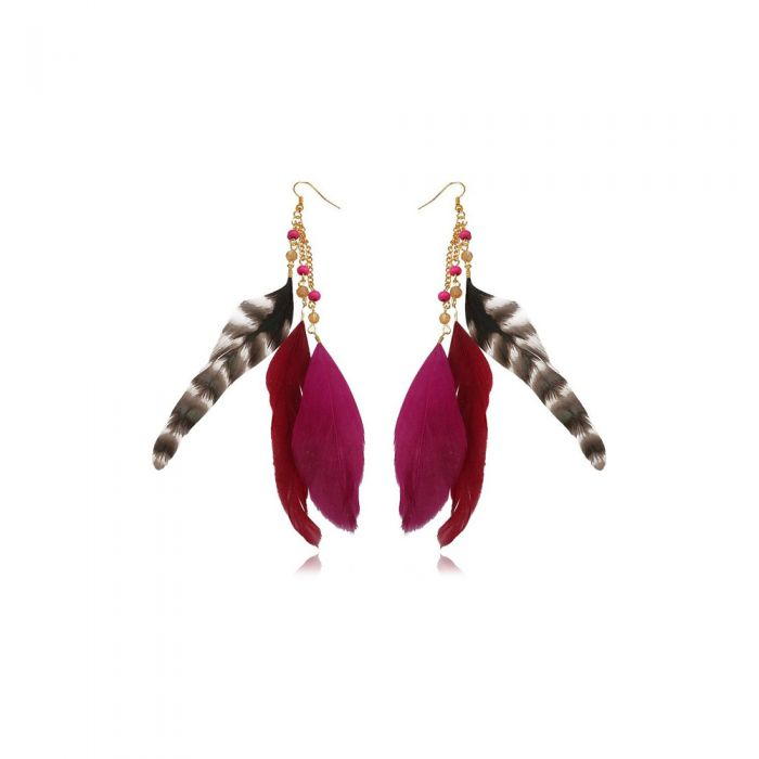Image for Fushia Pearls and Feathers Earrings