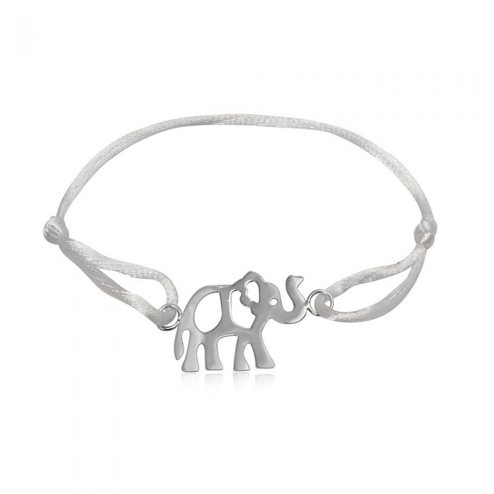 Image for White Silk and 925 Silver Elephant Bracelet