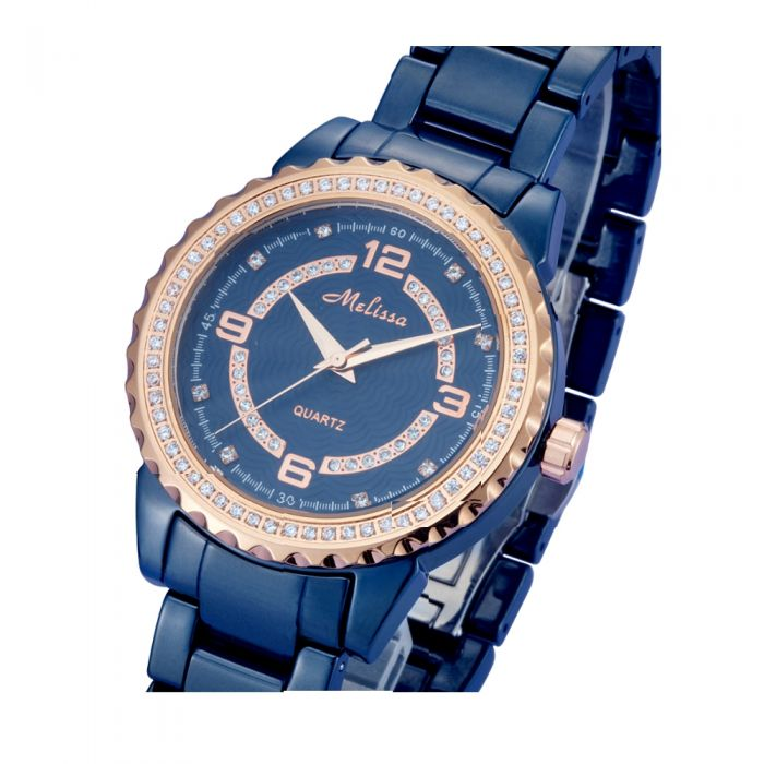 Image for Rose Gold, White Swarovski Crystal Elements and Blue Watch
