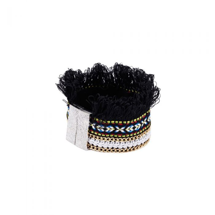 Image for Black Fringed Cotton Bracelet and Stainless Steel